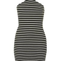 TALL Notch Neck Striped Dress - Monochrome