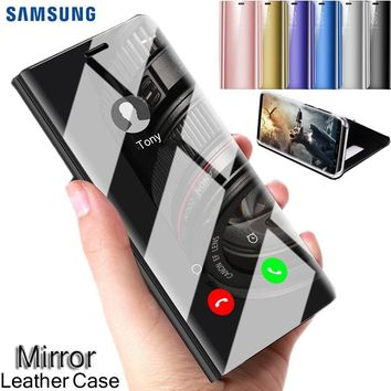 100% Original Samsung Smart Dormant Phone Case Plating Mirror Flip Leather Case Shockproof Protect Cover Curved Stand for Samsun