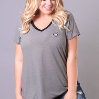 Plus Size Bobby Jack Striped V-Neck Tee - Black Stripe