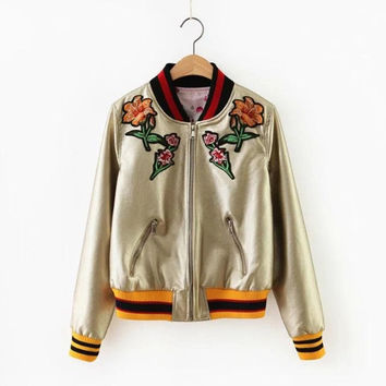 2016 Spring Autumn lovers Floral embroidered Bomber jacket men and women Both sides wear uniform Casual Chaquetas coat