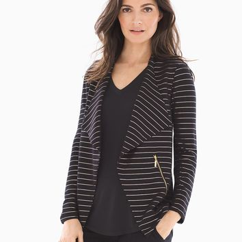 Soma French Terry Zipper Detail Jacket Glitz Stripe Black