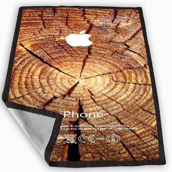 wood tree rings apple logo Blanket for Kids Blanket, Fleece Blanket Cute and Awesome Blanket for your bedding, Blanket fleece *