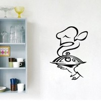 Housewares Wall Vinyl Decal Server Man with Tray Hot Dish Food Kitchen Cafe Interior Home Art Decor Kids Nursery Removable Stylish Sticker Mural Unique Design for Any Room