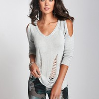 Long-Sleeve Cold Shoulder Shredded Sweater | GUESS.com