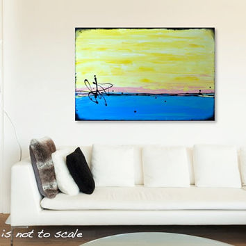 Original Abstract Beach Painting - Modern Contemporary Acrylic Canvas Wall Art - Yellow, Blue, Turquoise, Pink - 36 x 24 - FREE SHIPPING