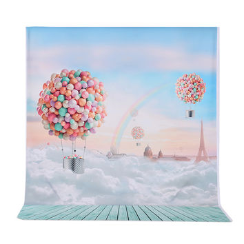 Andoer 1.5*2m Photography Background Ballons Rainbow Blue Sky Pattern Photo Studio Backdrop for Children Kids Portrait Shooting