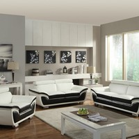 2 pc Olina collection black and white bonded leather upholstered sofa and love seat set with adjustable headrest