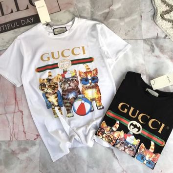 """Gucci"" Unisex Casual Fashion Cartoon Three kittens Letter Pattern Print Couple Short Sleeve Cotton T-shirt Top Tee"
