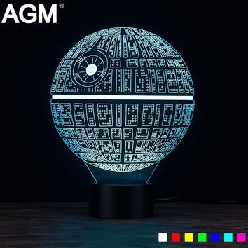AGM Star Wars Death Star LED 3D Lamp Night Light Luminaria Novelty Touch Table lamp 7 Colors Changing Desk USB LED Kid Gift Toy