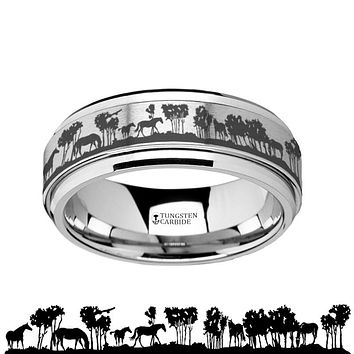 Intricate Wild Horses Scene Tungsten Carbide Spinner Ring