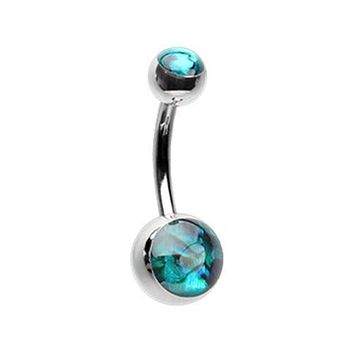 Abalone Shell Double Ball Inlay WildKlass Belly Button Ring
