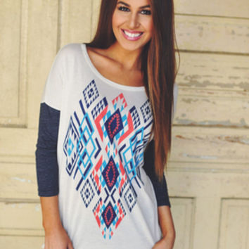 Aztec Tunic in Oatmeal/Navy