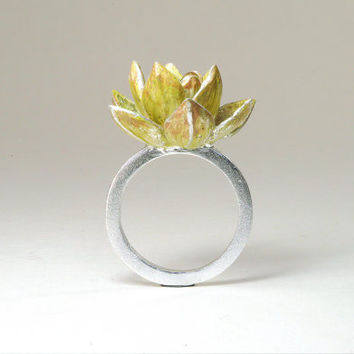 Succulent Ring / Succulent Plant Jewelry / Sterling Silver Succulent Ring / Unique Ring