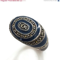 Sterling Silver Enamel Marcasite Ring, East West, Statement Ring, 925 Sterling, Sapphire Blue Enamel, Thailand, Size 8