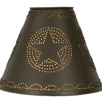 """4"""" x 10"""" x 8"""" Star Punched Tin Shade - Rustic Brown"""