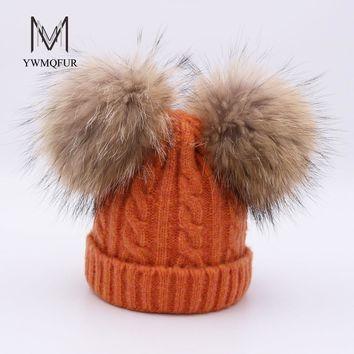 YWMQFUR Cute Real Fur Pom poms Hat for Children Winter Knit Beanies Cap with Real Raccoon Fur Ball Baby Removable Fur Hat Kids