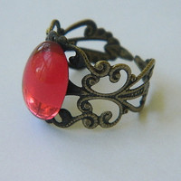 Pink stone adjustable ring by JewelrybyDecember67 on Etsy