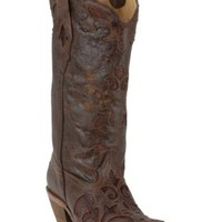 Corral Ladies Tobacco w/ Tobacco Inlay Sharpey Western Boots