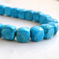 42% Off Howlite Dyed Turquoise Gemstone Blue Faceted Cube 8mm 13 beads 1/2 Strand