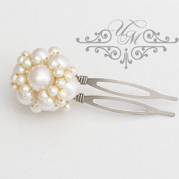 Wedding Hair pins Swarovski Pearl Hair pins Wedding accessories Bridal headpiece Bridal hair pins Vintage hair pins - YASMIN