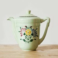 Retro pastel green ceramic coffee or tea pot - Romantic French vintage coffee pot - Shabby chic style