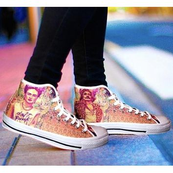 Frida Kahlo vs. Salvador Dali High Top Shoes - As is
