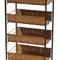 Organize It All Wicker 4-Tier Storage Cart (22114W)