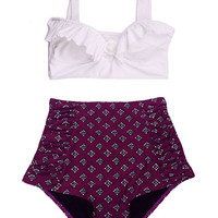 White Top and Purple Line Thai Ruched Vintage Retro High Waist Waisted Rise Shorts Bottom Swimsuit Swimwear Swim Bathing suit Bikini 2PC S M
