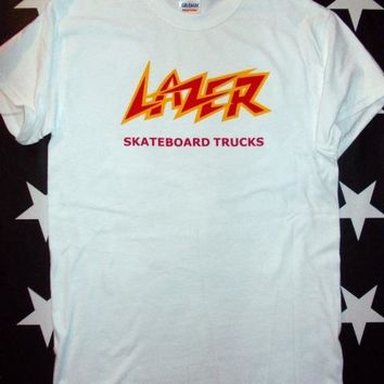 Skateboard Skater t-Shirt T-shirt Men Clothing Lazer Trucks 70s  Logo Screen Printed T-shirt Size S - Xxl + Old Skool AT_45_3