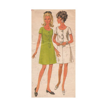 Misses Shift Dress Sewing Pattern Vintage 1970s Butterick 4874 A-Line, Front Buttons, Scoop Neck, Short Sleeves Size 14 Bust 36