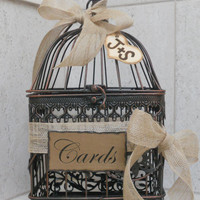 Wedding Card Box Birdcage Card Holder Rustic Shabby Burlap Ribbon Heart Charm