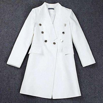 ICIKON3 lxunyi runway blazers Women long v neck slim suit jacket coat double breasted blazer feminino white