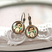 Pretty cat earrings sweet lolita feminine cute