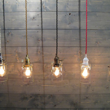 Industrial Ceiling Light - Upcycled Bottle Pendant Light - Industrial Lighting - Repurposed Light - Ceiling Mount Fixture - Recycled Glass