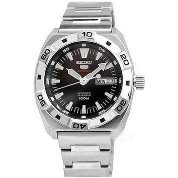 Seiko SRP281 Men's 5 Sports Stainless Steel Bracelet Automatic Black Dial Watch