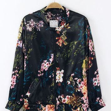Black Porcelain Print Long Sleeve Jacket
