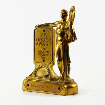Vintage Salesman Trophy, Art Deco Statue, Grolier Society 25 Order Award, Encyclopedia Award