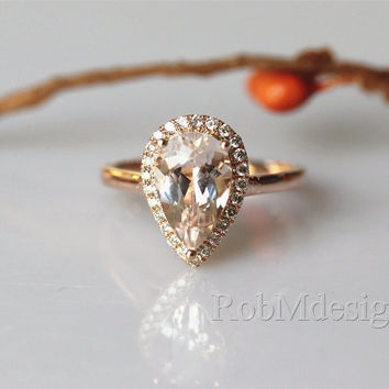 VS Pear Cut 1.9ctw Morganite Engagement Ring Halo Diamond Ring Plain Ring Band 14k Rose Gold Wedding Ring Promise Ring Pink Gemstone Ring