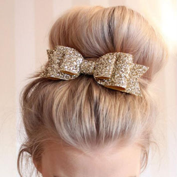 Fashion Women Satin Sequin Ribbon Bow hair clip girl hair accessories lovely bow hair wear headband