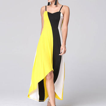 Summer Stitching Color Striped Sleeveless Irregular Straps Maxi Dress Open Back