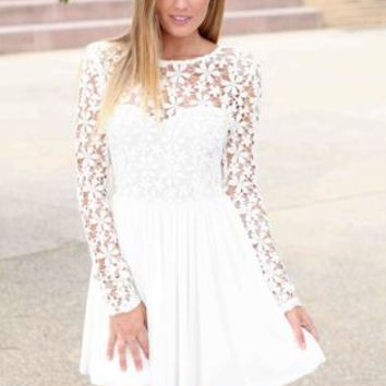 White Long Sleeve Dress with Lace Embroidered Bodice #white #dress #need #wish #cute #classy #lace #floral #party #chic #spring #love #want