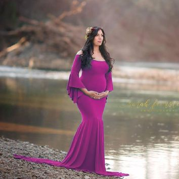 7ddfacd0608 New Style Maternity photography props maxi Maternity gown Cotton
