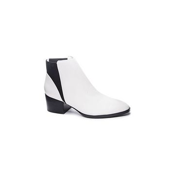 White Smooth Leather Booties - Chinese Laundry