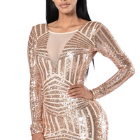 Rose Nude Open Back Long Sleeve Sequin Dress