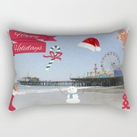 Happy Holidays from Santa Monica Pier Rectangular Pillow by Christine Aka Stine1