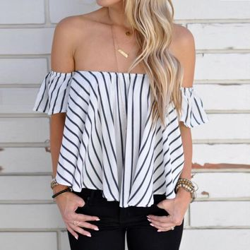 *Online Exclusive* Striped flowy off shoulder blouse