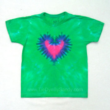 SALE! Child Medium Tie Dye Shirt Hot Pink Heart- Valentine's Day gift for girl