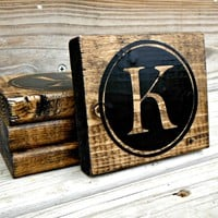 Personalized Wooden Monogram Rustic Coasters