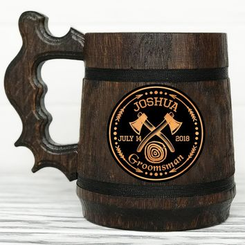 Groomsmen Mug Personalized Groomsmen Gift Groomsman Mug Axeman Hipster Axe Mug Woodcutter Personalized Best Man Gift Wooden Beer Mug Wedding Gift Grooms Gift Custom Mug #60 / 0.6L / 22 ounces