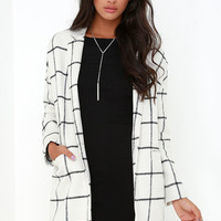 City Streets Black and Ivory Grid Print Coat